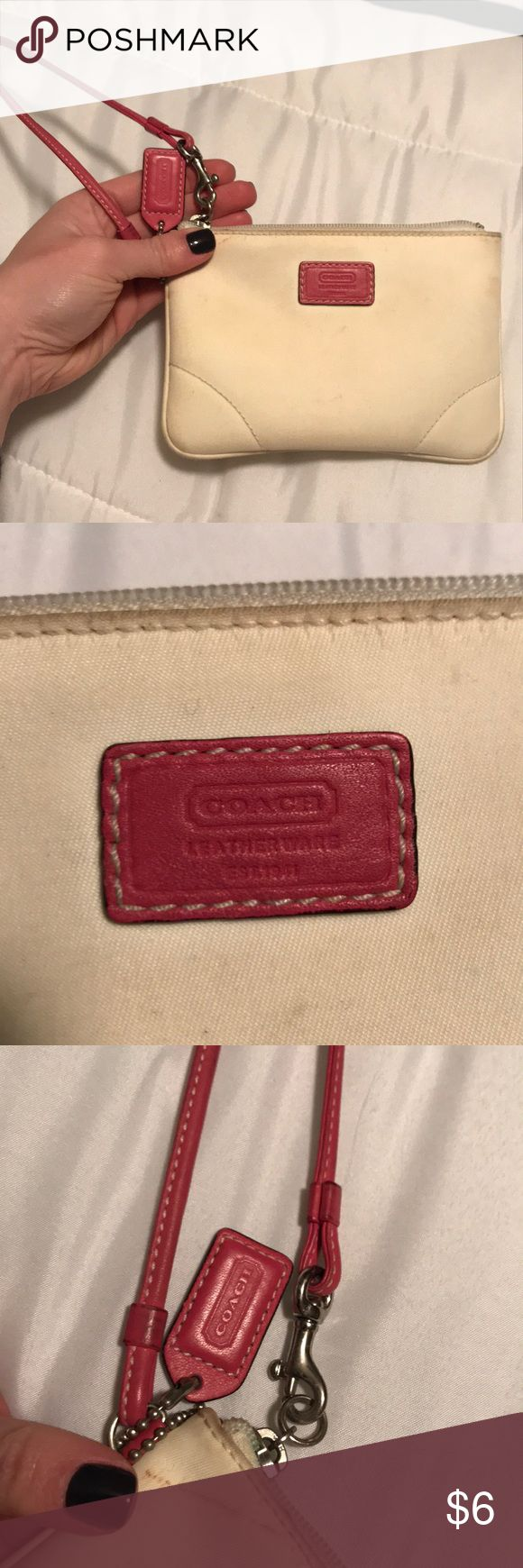 White coach wristlet White coach wristlet. Strap is pink leather, wristlet is white nylon like material. White is very faded with some staining. Interior is excellent condition! Coach Bags Clutches & Wristlets