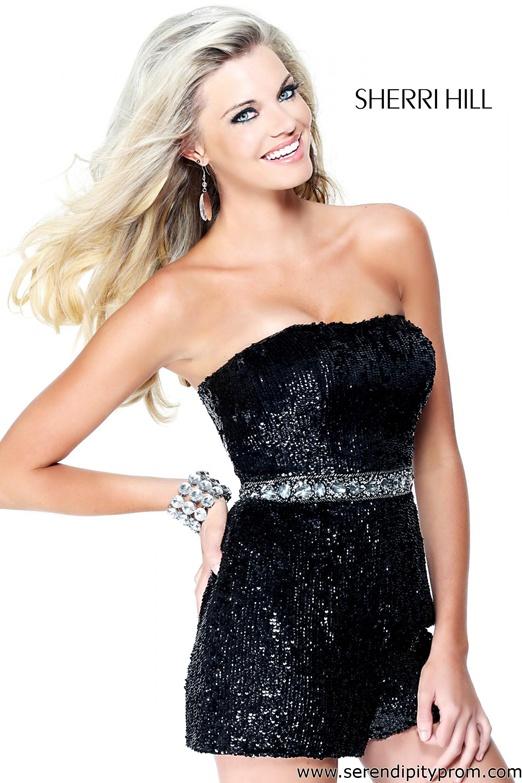 sherri hill black multi long sequin prom dress 2822