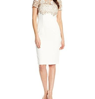Gina-Bacconi-Damen-Kleid-Bouquet-Guipure-Lace-Overtop-and-Crepe-0
