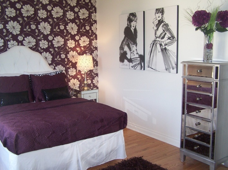 teen girl fashion bedroom in plum bedroom cleveland devine designs - Fashion Designer Bedroom Theme