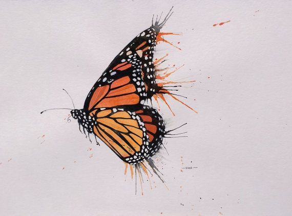 I Love Painting Butterflies Left Flying Messy Monarch Watercolor