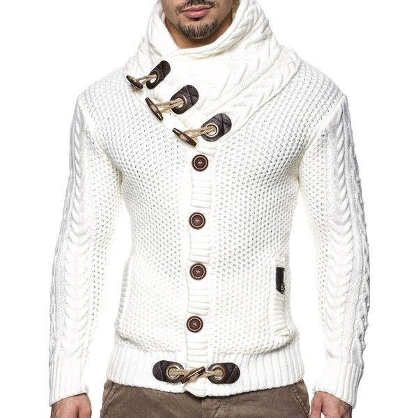 LEIF NELSON Men's Knitted Jacket Cardigan ($60) ❤ liked on Polyvore featuring men's fashion, men's clothing, men's sweaters, mens cardigan sweaters and mens sweaters