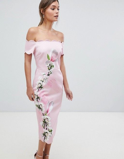 3fb0d6bd00a18e Ted Baker Scalloped Bodycon Dress in Harmony Floral in 2019