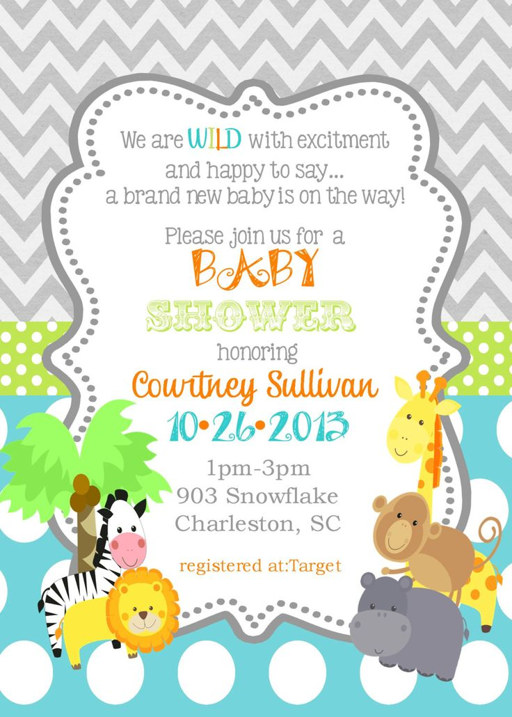 Jungle Animals Baby Shower invitations -safari animals-reserved for Chantall by noteablechic on Etsy https://www.etsy.com/listing/185012474/jungle-animals-baby-shower-invitations