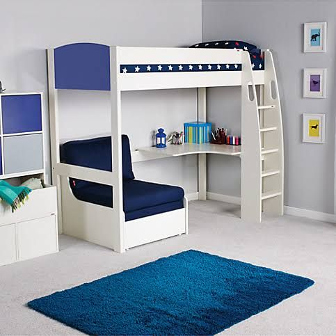 Stompa UNO S Highsleeper With Desk And Futon Chair Bed White