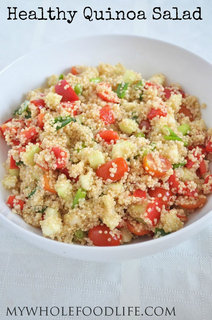Healthy Quinoa Salad.  Perfect for potlucks and parties.  Healthy, easy and delicious! #vegan #glutenfree #salads