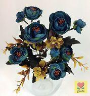 3 XArtificial Flower Silk Flowers Blue Light Green Peony Bushes cintahomedeco
