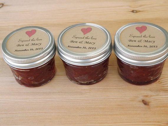 Spread the Love Wedding Favors- Jam Jar Favors- Mason Jar Favors- Set of 12