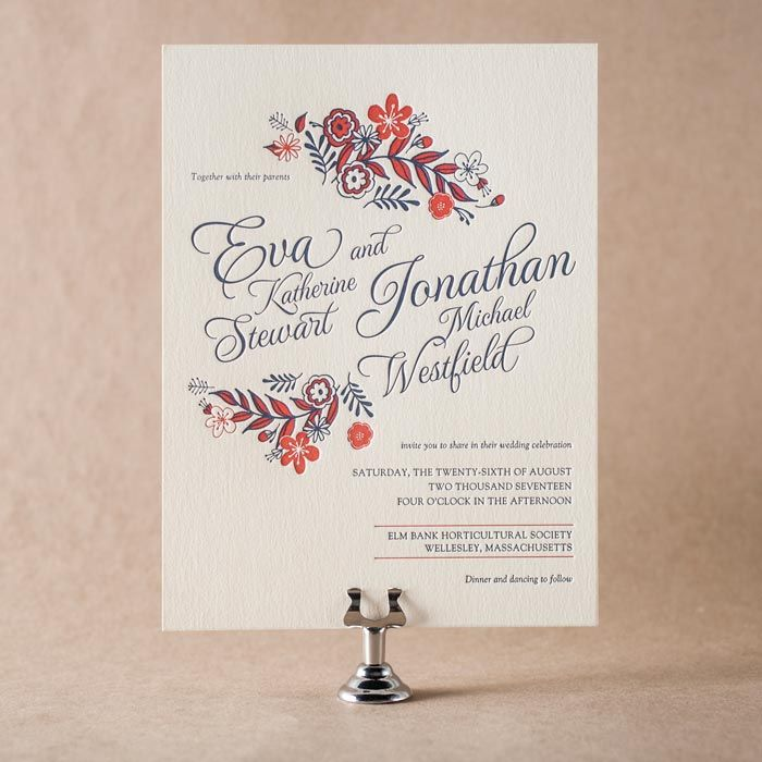 wedding renewal invitation ideas%0A Maura Gauthier u    s Folk Floral letterpress invitation for Bella Figura  on  sale through May