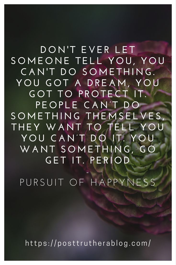 """""""Don't ever let someone tell you, you can't do something. Not even me. You got a dream, you got to protect it. People can't do something themselves, they want to tell you you can't do it. You want something, go get it. Period."""" ― Pursuit of Happyness"""