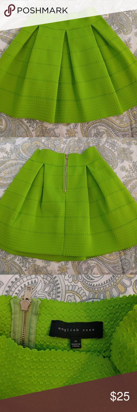 English Rose bandage skirt Lime green pleated bandage skirt! The color is bright and fun for summer and fall. Dry cleaned and only worn once. Skirts Circle & Skater