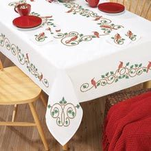 Herrschners® Holly & Cardinal Table Linens Stamped Cross-Stitch