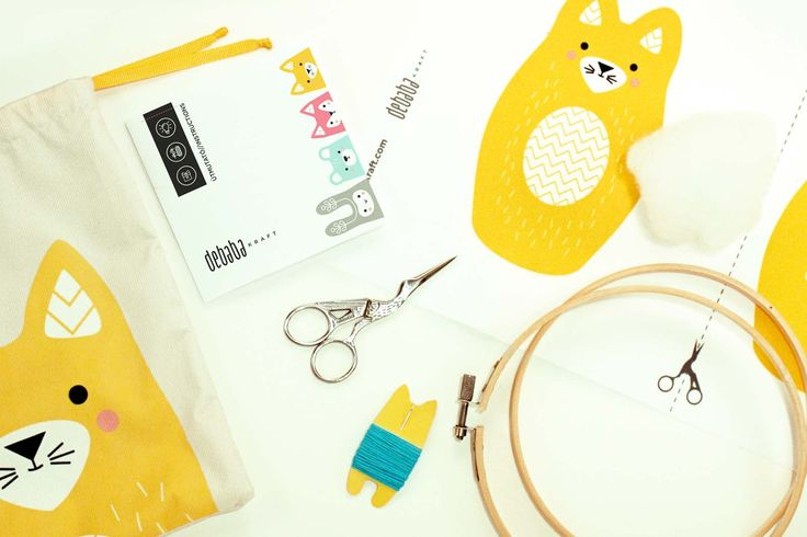 KITTY CAT DIY embroidery kit - contains all tools: digital printed fabric, needles, stuffing, instruction, embroidery threads, embroidery hoop, scissors. The result is a loveable cute toy. #diy #embroidery #kit #kitty #cat #sew #cute #decoration #toy #kids #craft