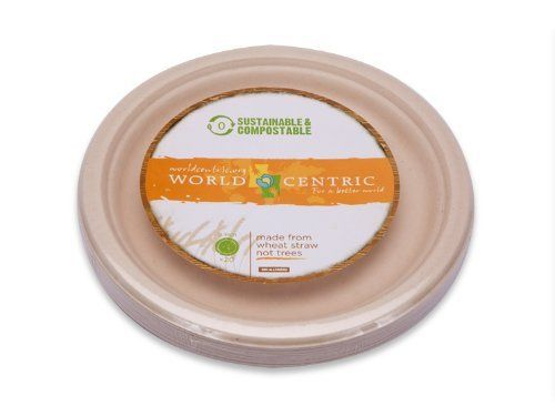 World Centric Wheat Straw/Bagasse Compostable 9-Inch Fiber Ripple Edge Plate, 20-Piece by World Centric. $6.13. World Centric offers a line of biodegradable, compostable bowls, plates and containers made from post-processed wheat straw fiber and sugarcane (Bagasse) - both renewable recources. Our wheat straw fiber and bagasse items do not contain any plastic or wax linings. All products can be used for both hot and cold items up to 200 degrees Fahrenheit. World Centric's w...