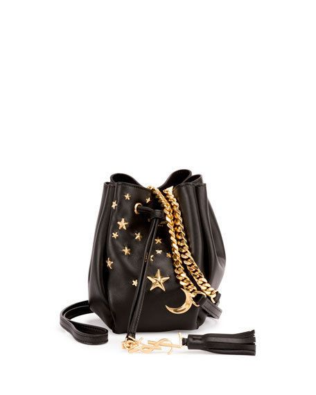 403e6583f116 Auth YSL Yves Saint Laurent Moon   Star Blk Leather Small Bucket Bag - Pre  Owned