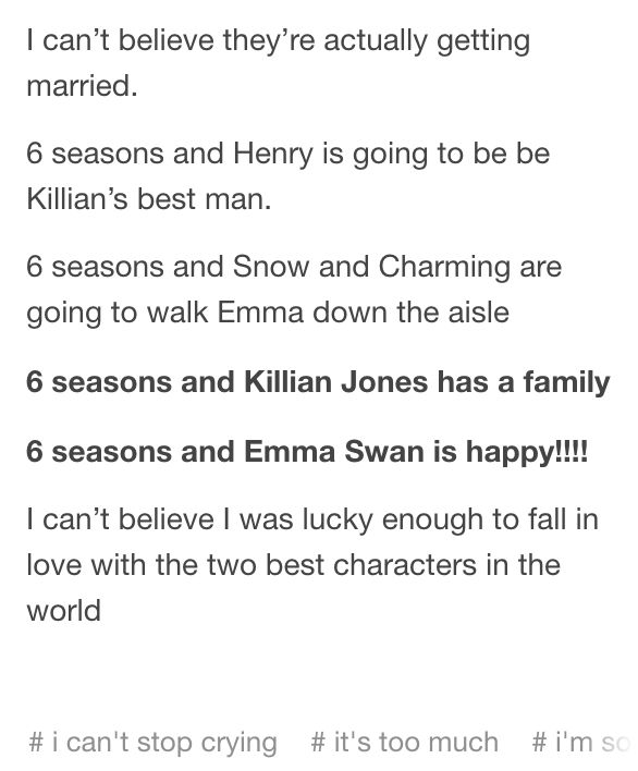 SIX BLOODY SEASONS AND THEY'RE GETTING MARRIED ❤️❤️ #CaptainSwan