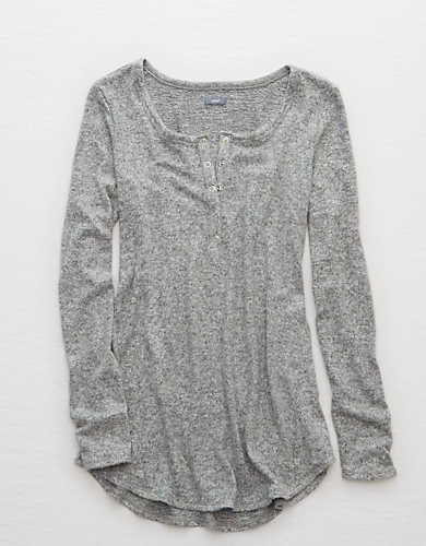 Aerie Henley Tunic, Medium Heather | Aerie for American Eagle
