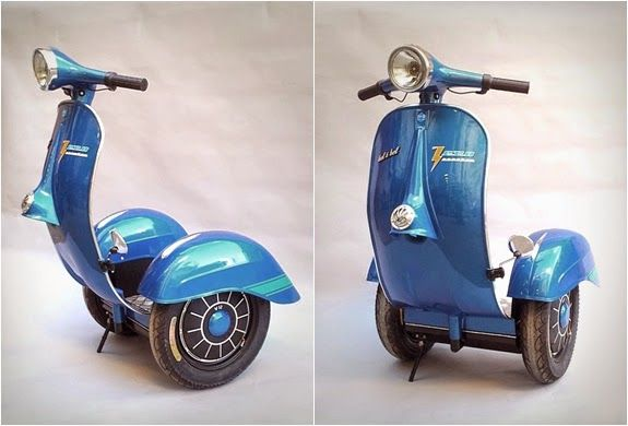 The Zero Scooter has been designed to include elements from both the Vespa and the Segway. It is electric and can travel for 21 miles without a recharge.