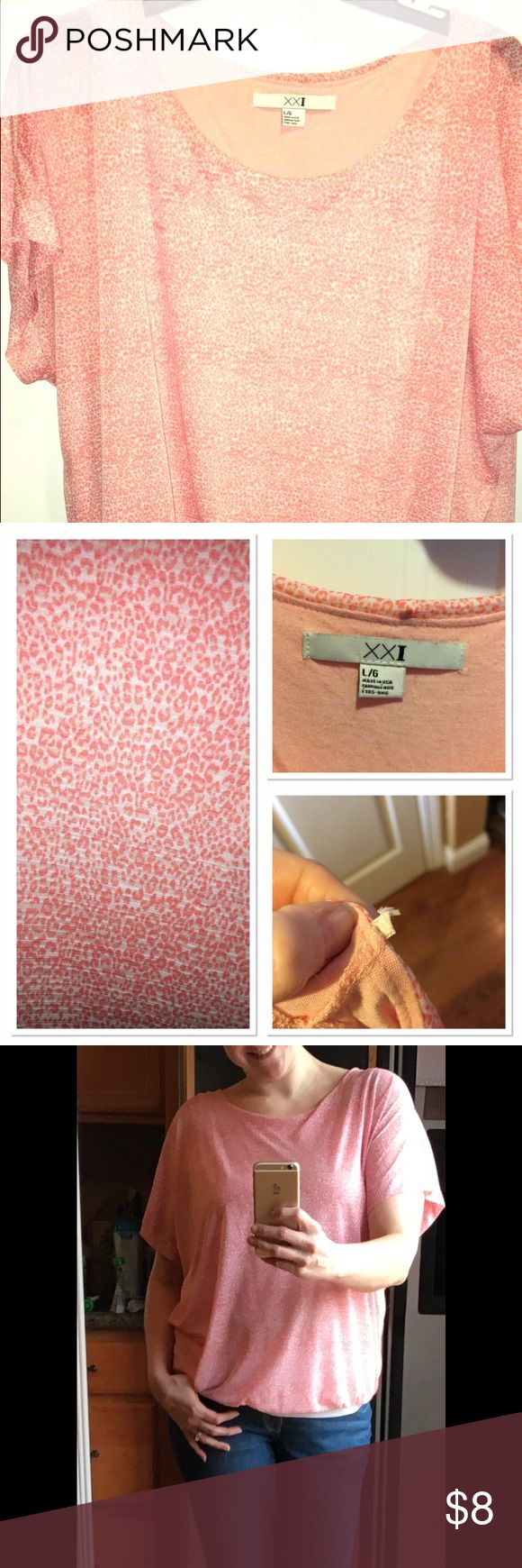 Forever 21 pink leopard shirt Forever 21 pinkish orange leopard shirt. This shirt is loose fitting and so fun. Normal wear good condition I did cut the hanger strings off but you can't tell when wearing I just dislike those strings. Forever 21 Tops Blouses