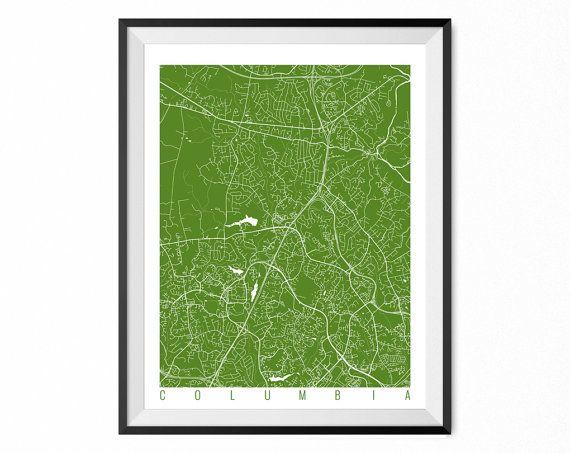 COLUMBIA Map Art Print / Maryland Poster / Columbia Wall Art