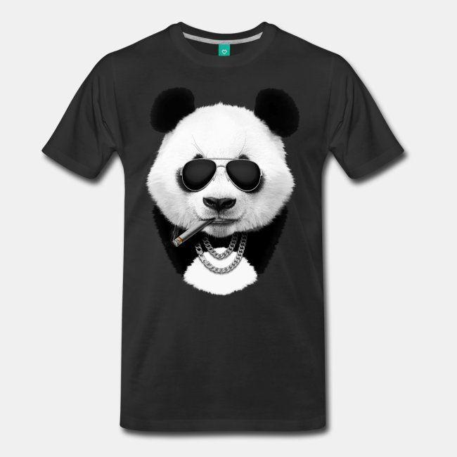Panda in black Tshirt  #sun #sunset #dusk #panda #pandabear #bear #animal #cool #travel #summer #cool #funny #print #buy #sale