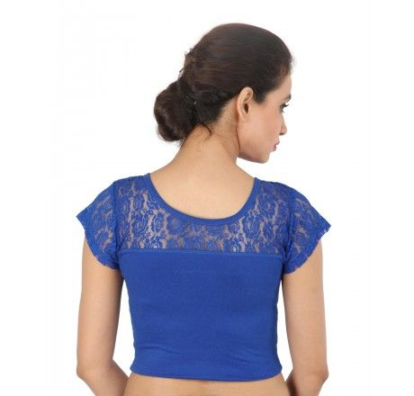 Royal Blue Lace Shimmer Stretchable Blouse & Crop Top - Stretchable Lycra & Velvet Blouse - Blouses - Saree,Blouse & more