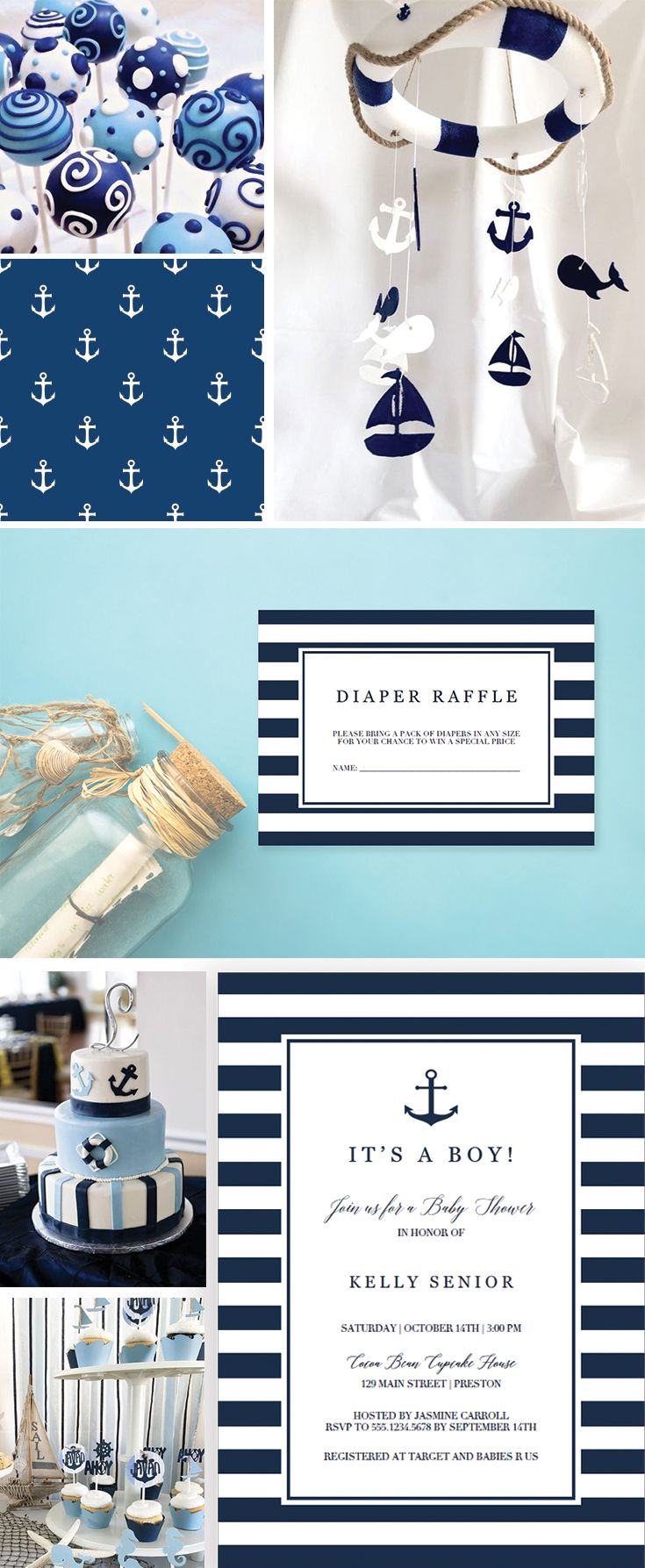 Nautical Baby Shower Boy Ideas by LittleSizzle. Printable Decorations and Invitations. Nautical Baby Shower Invites and Inserts. Make the perfect announcement of a baby shower with this nautical baby shower invitation set. Included in the set are the Invitation, a Diaper Raffle ticket and a Bring-a-Book request card. Personalize the items with your own words. Simply download, edit and print!