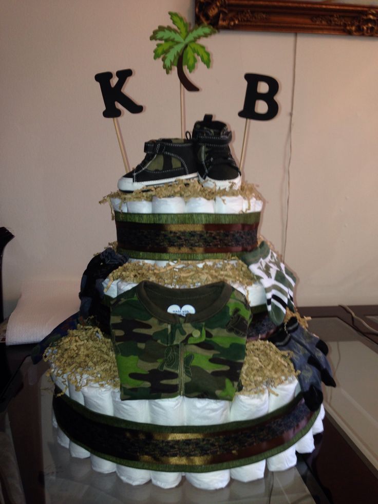 Diaper Cake Decorating Ideas : Army camo diaper cake Diaper Cake Decorating Ideas ...
