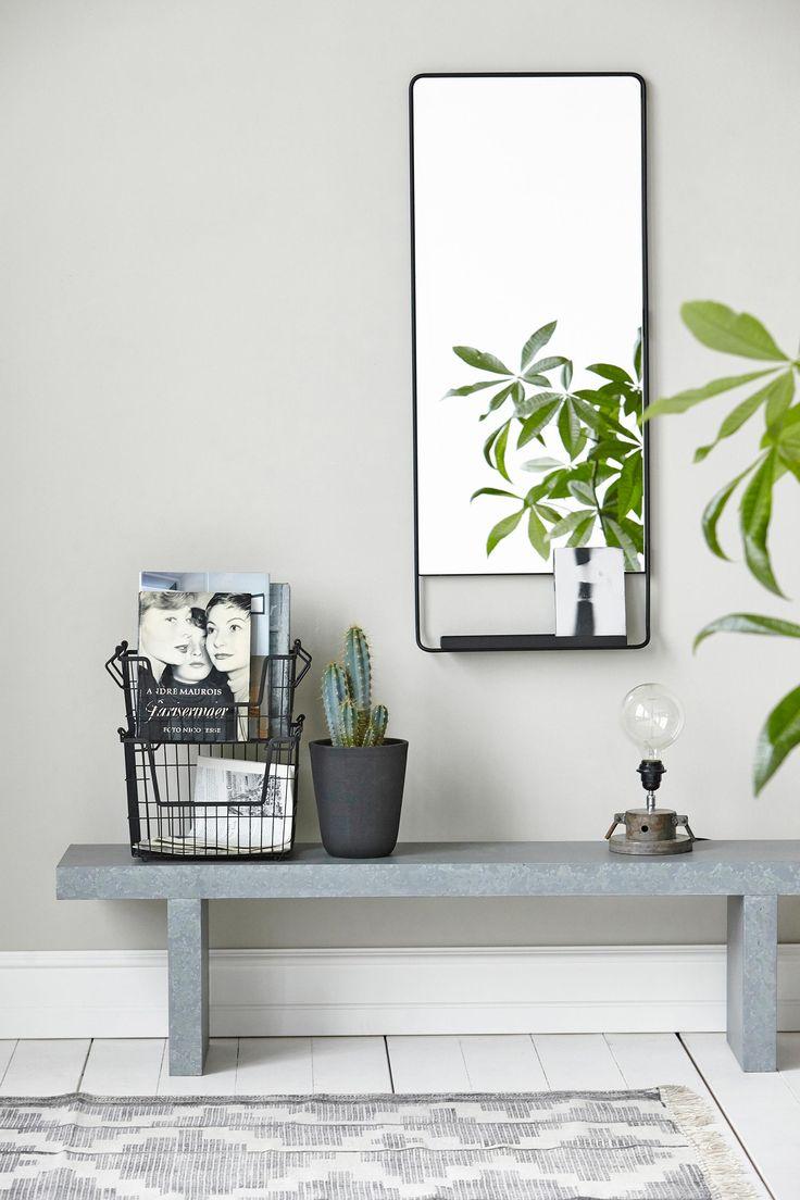 espejo, banco estrecho, revistero metálico, cactus