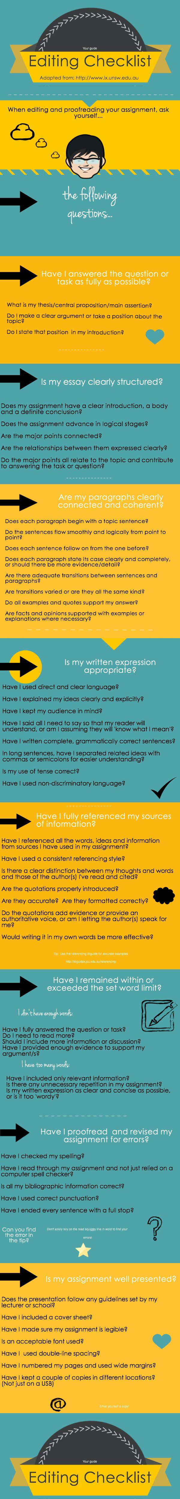 best images about writing grammar tips research editing checklist by this provides good questions for writers to revise their essay and identify trouble spots