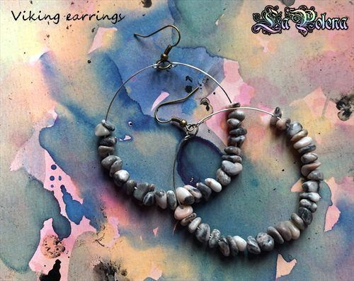 https://flic.kr/p/RnMEan | Viking Hoops | Hand crafted dangle hoops, vintage stone beads.