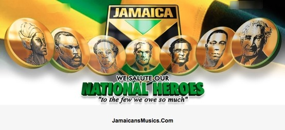 National Heroes From left-right, The Right Excellent; Nanny of the Maroons, Marcus Mosiah Garvey, Samuel Sharpe, Norman Washington Manley, George William Gordon, Paul Bogle and Sir Alexander Bustamante