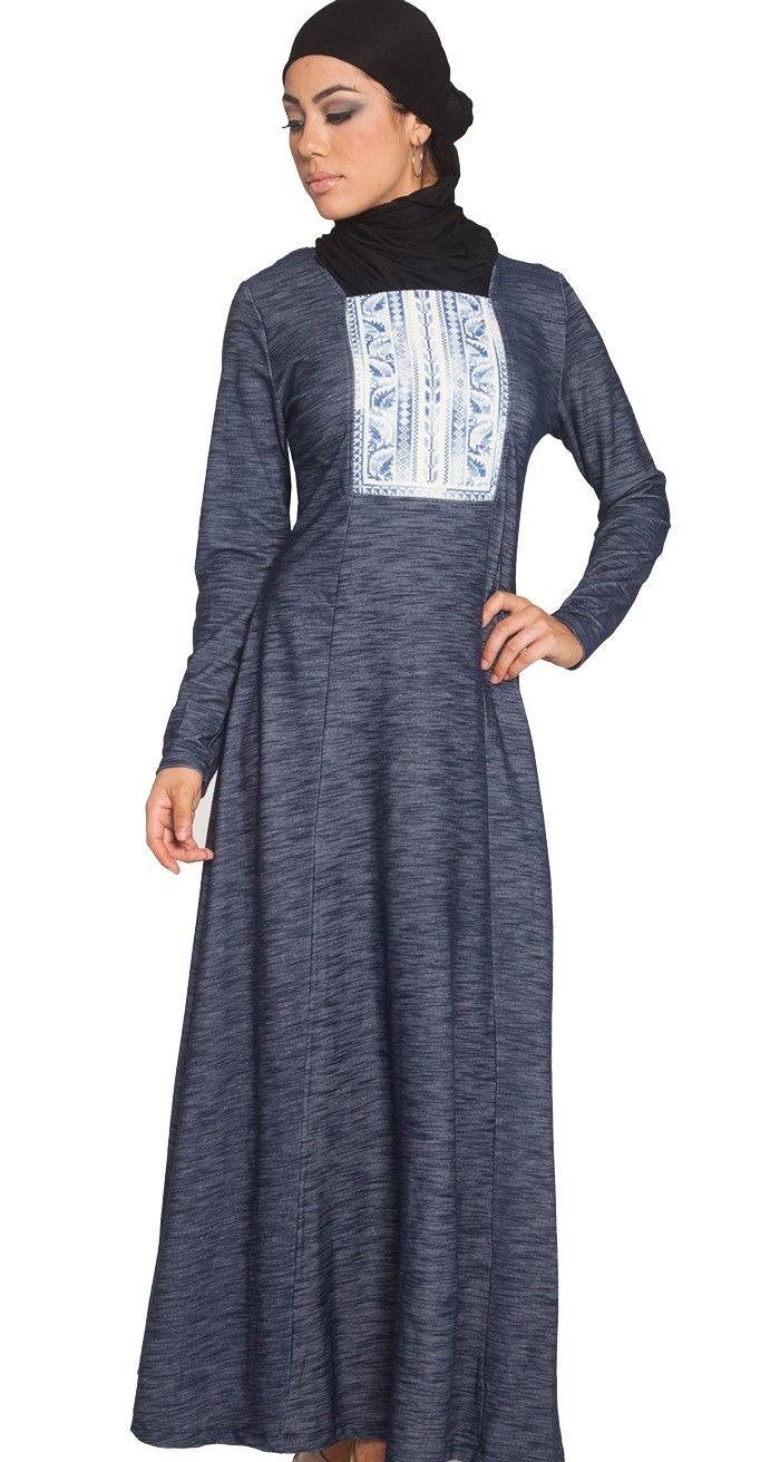 Maya Palestinian Hand Embroidered Long Maxi Dress - Modest Islamic Fashion