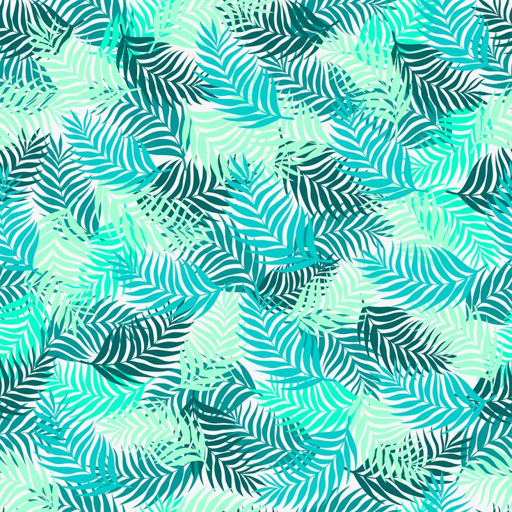 seamless pattern of palm leaves branches superimposed on each other beautifully in blue azure and aquamarine color on a light gray background