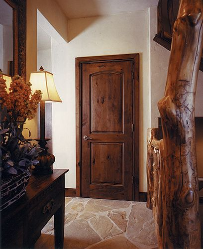 Rustic 1 3/4u201d Knotty Alder Interior Door, 2 Panel Top