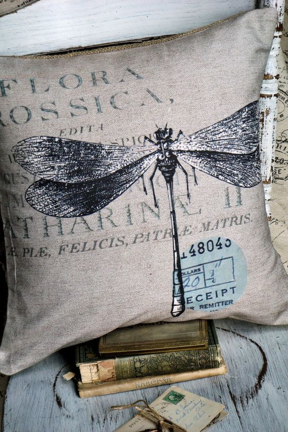 Pillow Cover Garden Dragonfly Cotton and Burlap by JolieMarche