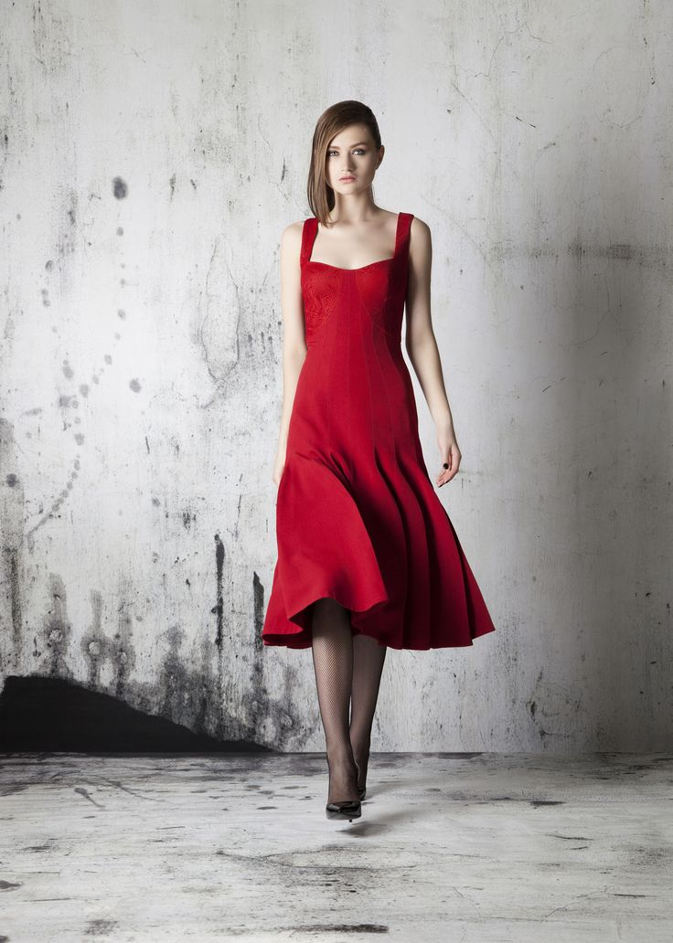 Red cocktail dress fashionable style occasional dress