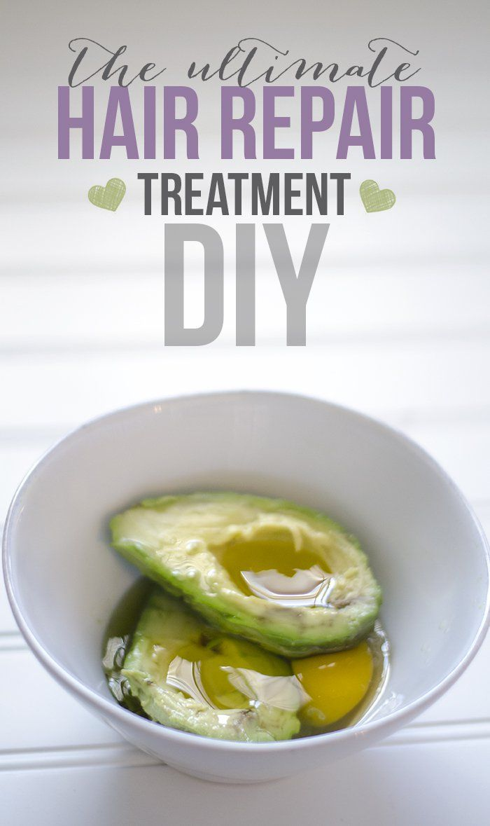 Hair Repair Treatment DIY  1 Egg 1 Avocado 3 TBS Olive oil 1 TBS Honey  Blend all the ingredients together until its fairly smooth. Starting with the ends, massage into your hair right on up to the scalp. Let it sit for about 15 minutes, then rinse and wash.