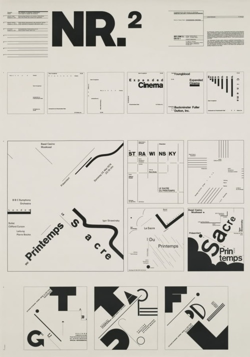 "Typographic Process, Nr 2. From Simple to Complex by Wolfgang Weingart, 34 1/2 x 24 1/4"" (1971)"