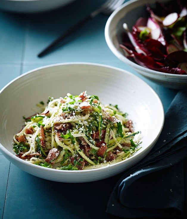 "Australian Gourmet Traveller recipe for zucchini ""carbonara"" by Pete Evans."