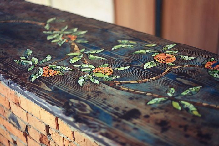 How To Make A Mosaic Bar Table From Wood And Tiles | Woodworking ideas