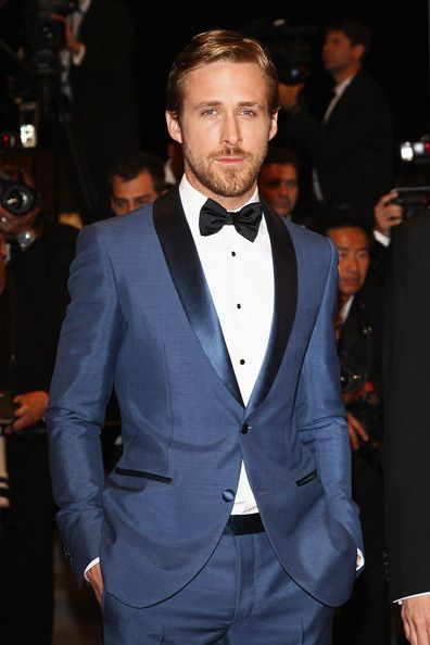 Shawl collared, two-button blue tuxedo.