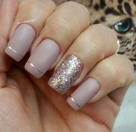 57 best nails images on pinterest nail design nail scissors and beige matte nails with a thin gold stripe and an accent gold glitter nail not a fan of glitter nails but i love the stripes prinsesfo Images