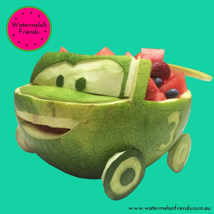 Custom designed and carved watermelon car for a little boy's 3rd birthday party. Based on Lightning McQueen from Disney's Cars movie. Filled with fruit salad of watermelon cubes, strawberries and blueberries.   We'd love to create a custom watermelon for your next event! Enquiries: hello@watermelonfriends.com.au