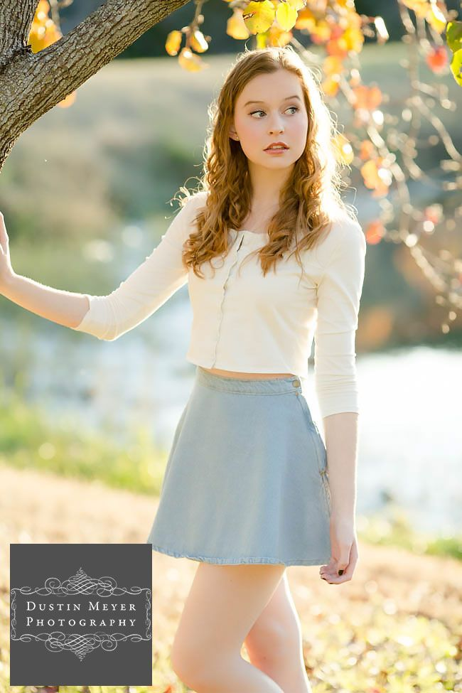 Gorgeous Female Senior Portraits Blue Skirt White Button -8522