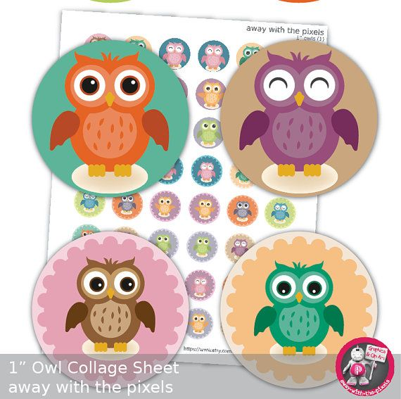 1 Owl Collage Sheet 1 Circles Disc Collage by AwayWithThePixels