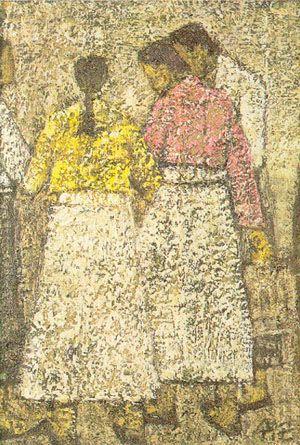 Park Soo-keun, Women, 1950, Oil on hardboard, 18*13cm
