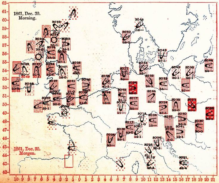 Cartographies of Time: A Visual History of the Timeline | Brain Pickings A 'synchronous chart' from Meteorographica (1863) by Francis Galton, pioneer of the study and mapping of weather. The chart represents weather conditions, barometric pressure, and wind direction at a single moment in time across the geographic space of Europe.