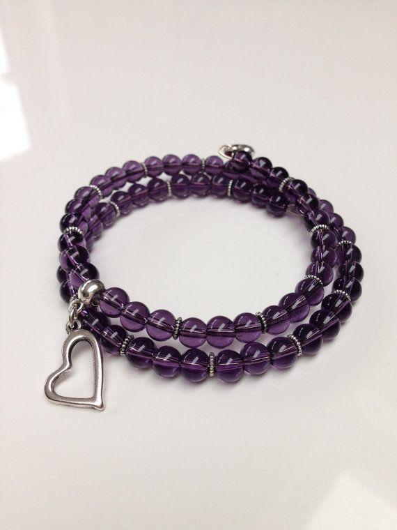 Pulsera púrpura oscuro pulsera de abalorios de cristal