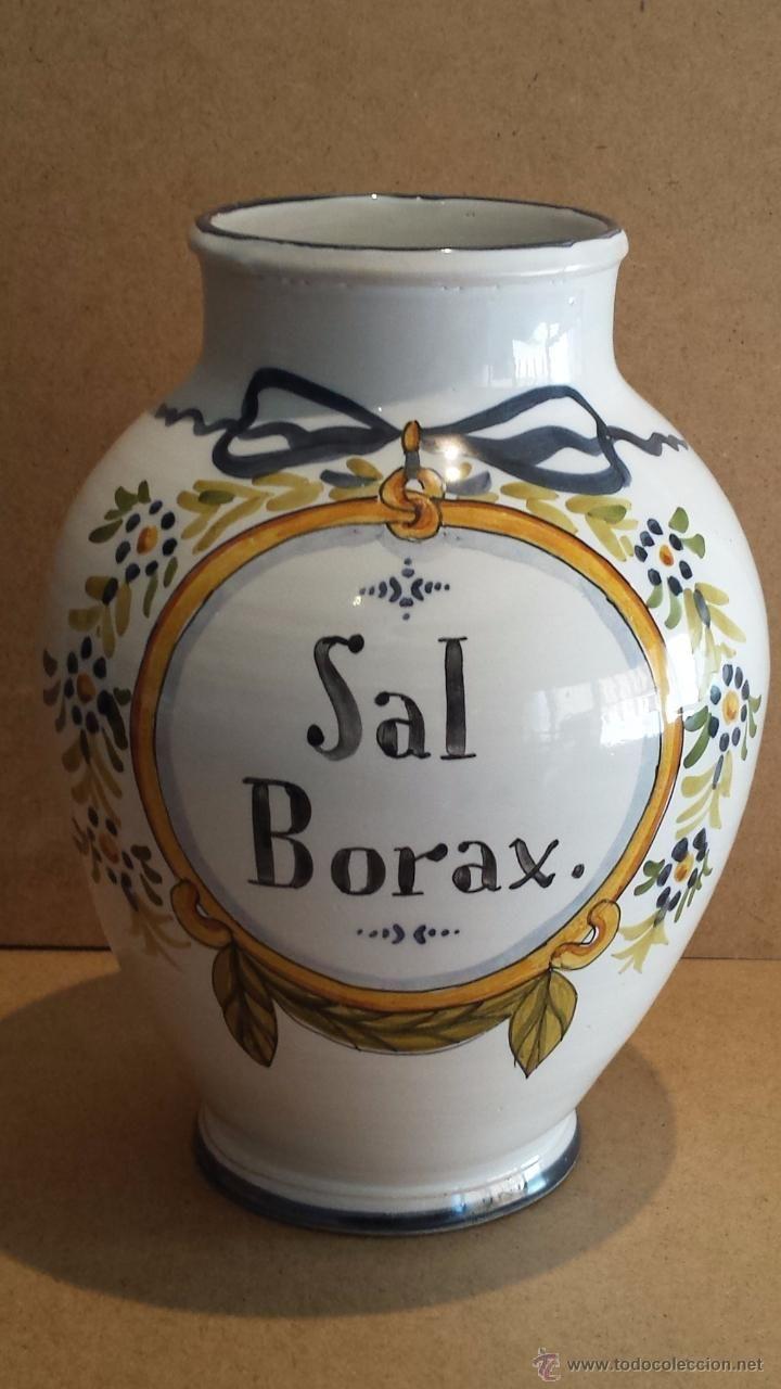 ALBARELO, BOTE O TARRO DE FARMACIA. INSCRIPCIÓN SAL BORAX. 26 CM ALTO X 18 BARRIGA. LEER